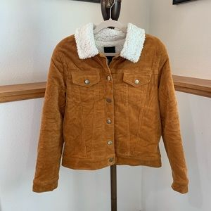 Forever 21 Sherpa Lined Mustard Bomber Jacket